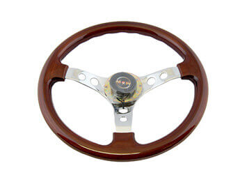 Wood with Chrome Steering Wheel, MX5 Mk1