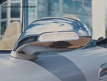 Chrome Door Mirror Covers With Intergral Repeaters, MX5 Mk2/2.5