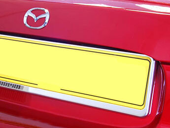 Rear Number Plate Surround Stainless Steel, All MX5 Models