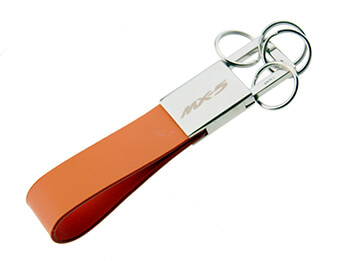 MX5 Keyring, Chrome With Orange Leatherette Strap