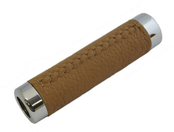 Chrome & Dark Tan Leather Handbrake Sleeve, MX5 Mk1/2/2.5