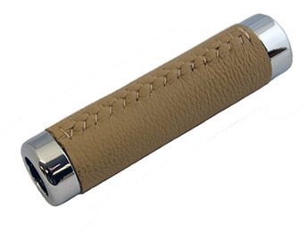 Chrome & Light Tan Leather Handbrake Sleeve, MX5 Mk1/2/2.5