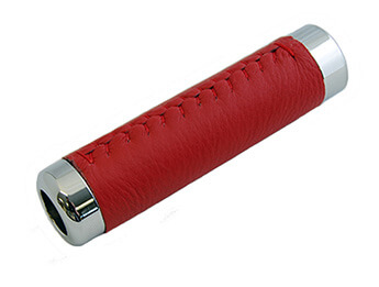 Chrome & Red Leather Handbrake Sleeve, MX5 Mk1/2/2.5