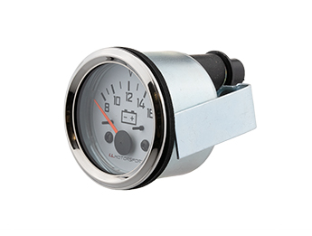 Battery Gauge with White Face & Chrome Rim, Mk1/2/2.5
