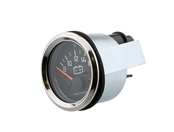 Battery Gauge with Black Face & Chrome Rim, Mk1/2/2.5