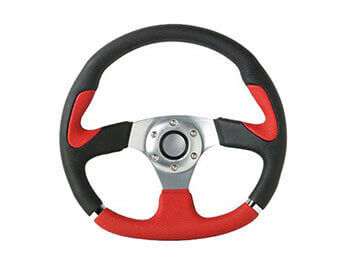 Indy Leather Steering Wheel, Red & Black, MX5 Mk1