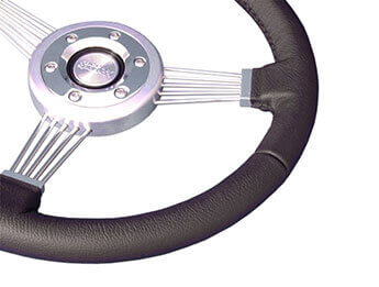 "Sumex ""Riviera\"" Black Leather Steering Wheel, MX5 Mk1"