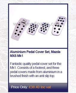 Aluminium Pedal Cover Set, Mazda MX5 Mk1