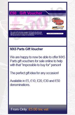 MX5 Parts Gift Voucher