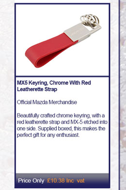 MX5 Keyring, Chrome With Red Leatherette Strap
