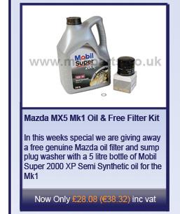 Mazda MX5 Mk1, Mk2, Mk2.5 Oil and Free Filter Kit