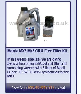 Mazda MX5 Mk3 Oil and Free Filter Kit
