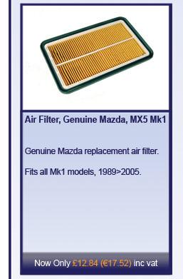 Air Filter, Genuine Mazda, MX5 Mk1/2/2.5