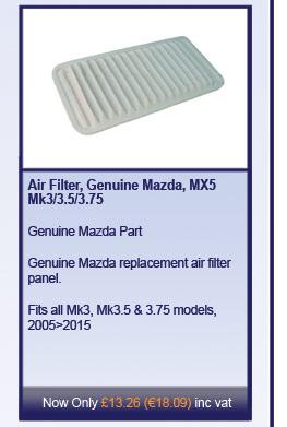 Air Filter, Genuine Mazda, MX5 Mk3/3.5/3.75