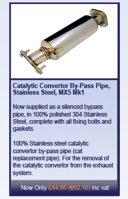 Catalytic Convertor By-Pass Pipe, Stainless Steel, MX5 Mk1