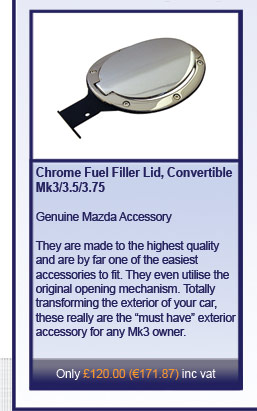 Chrome Fuel Filler Lid, Convertable Mk3/3.5/3.75
