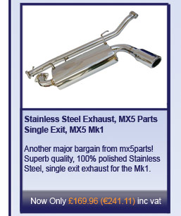 Stainless Steel Exhaust, MX5 Parts Single Exit, MX5 Mk1