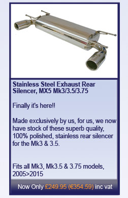 Stainless Steel Exhaust Rear Silencer, MX5 Mk3/3.5/3.75