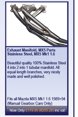 Exhaust Manifold, MX5 Parts Stainless Steel, MX5 Mk1 1.6