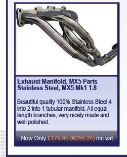 Exhaust Manifold, MX5 Parts Stainless Steel, MX5 Mk1 1.8